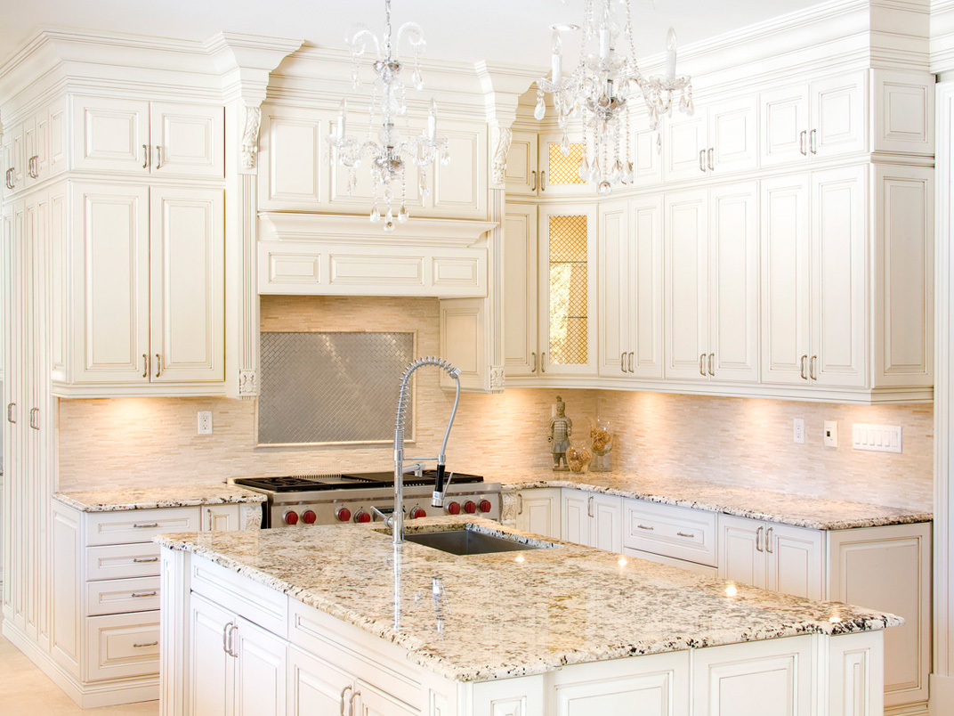 White kitchen cabinets with granite countertops benefits for Kitchen counter cabinet