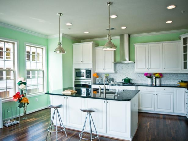 Green Transitional Kitchen With White Cabinet