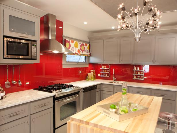 Red French Country Kitchen Cabinets