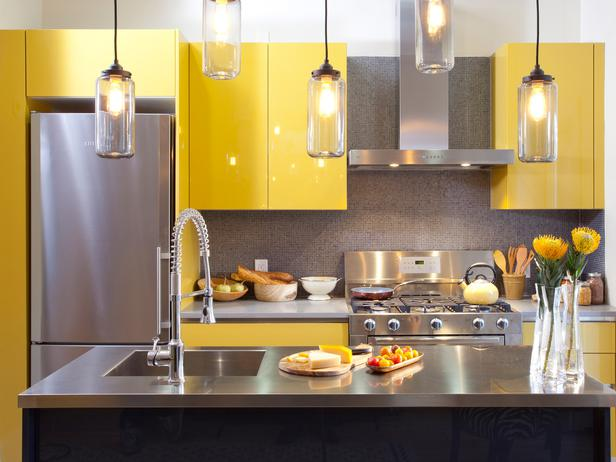 Yellow Kitchen Cabinets and Stainless Steel