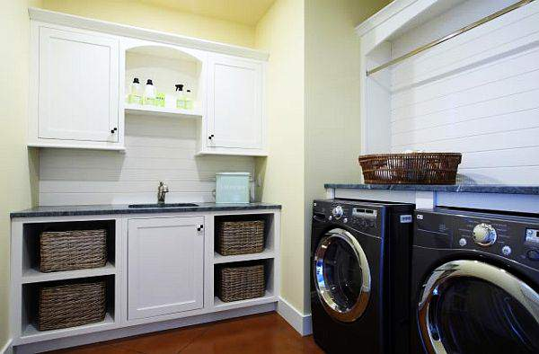 Traditional Laundry Room With White Cabinets