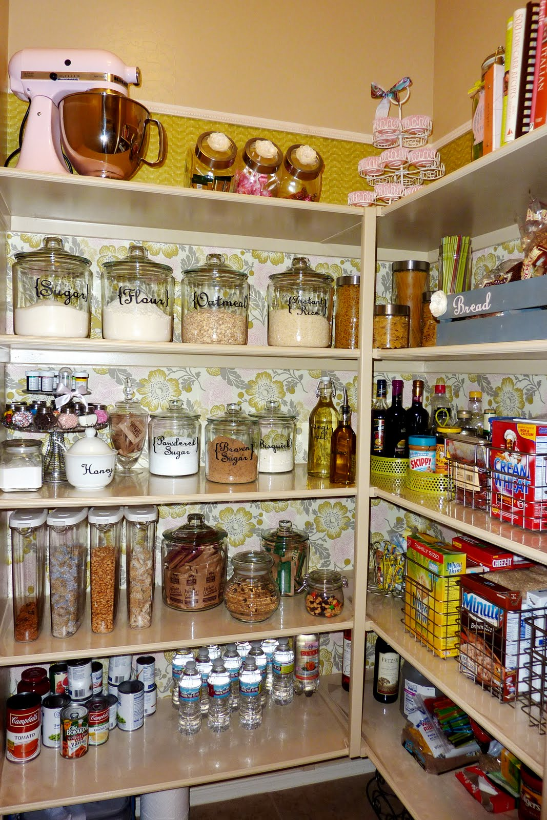 Chic White Kitchen Pantry Cabinet Design Idea with Glass Jars