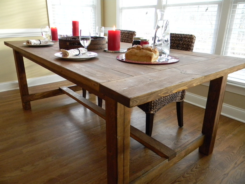 Farmhouse wooden kitchen tables as ageless rustic interior design mykitcheninterior - Wood kitchen table plans ...