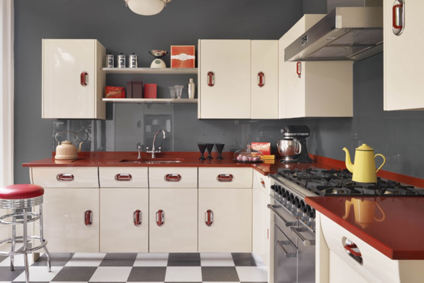 Maximizing cabinet color to create retro style kitchen for Kitchen designs american style