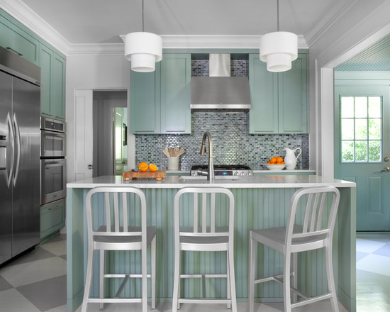 Sleek Cottage Kitchen Details Metal Bar Stools Fancy Pendant Lamps