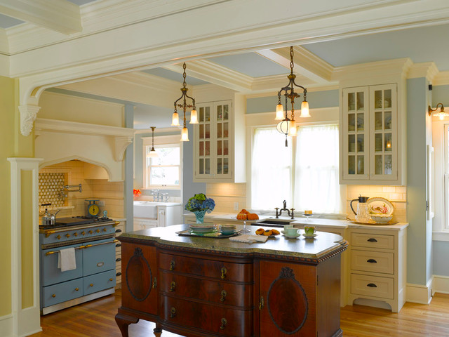 Uplifting Yellow Blue Farmhouse Kitchen with Wooden Small Kitchen Island Ideas Under the Classic Chandelier and Tiered Ceiling idea Unique Chandeliers