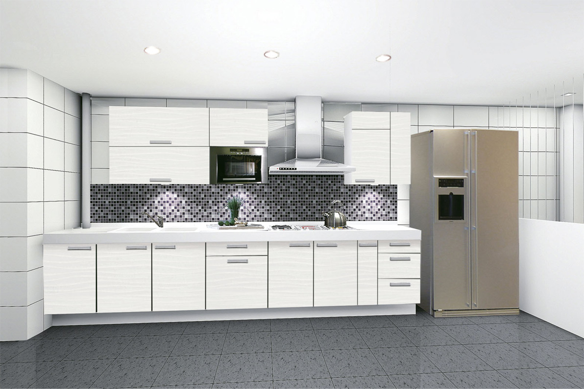 Marvelous Kitchen with Modern White Kitchen Cabinets and Small Lighting plus Cool Backsplash Model