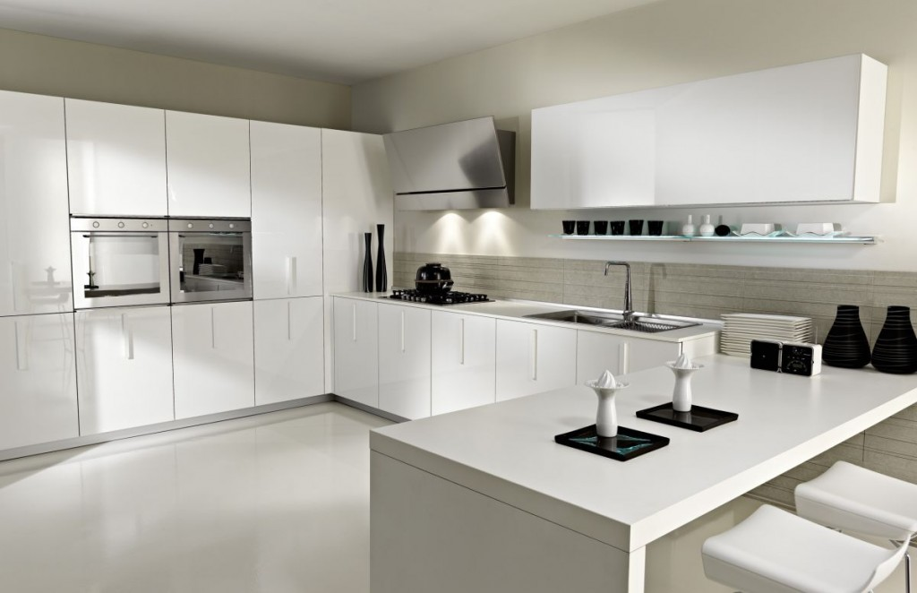 Nice Backsplash between Modern White Kitchen Cabinets and Casual Counter plus Tiny Stools Model