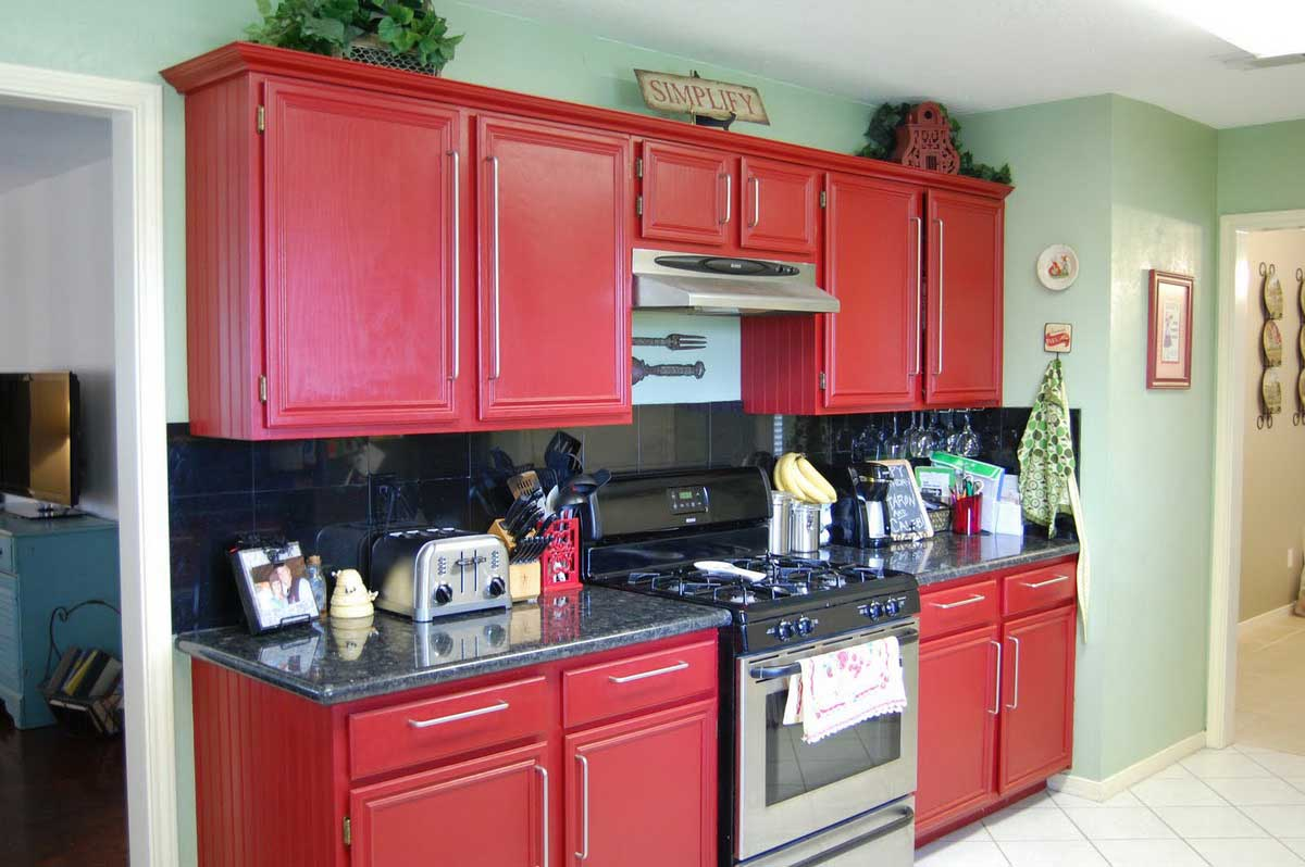 Dazzling Idea of Red Kitchen Cabinets with Perfect Natural Stone Countertop Design
