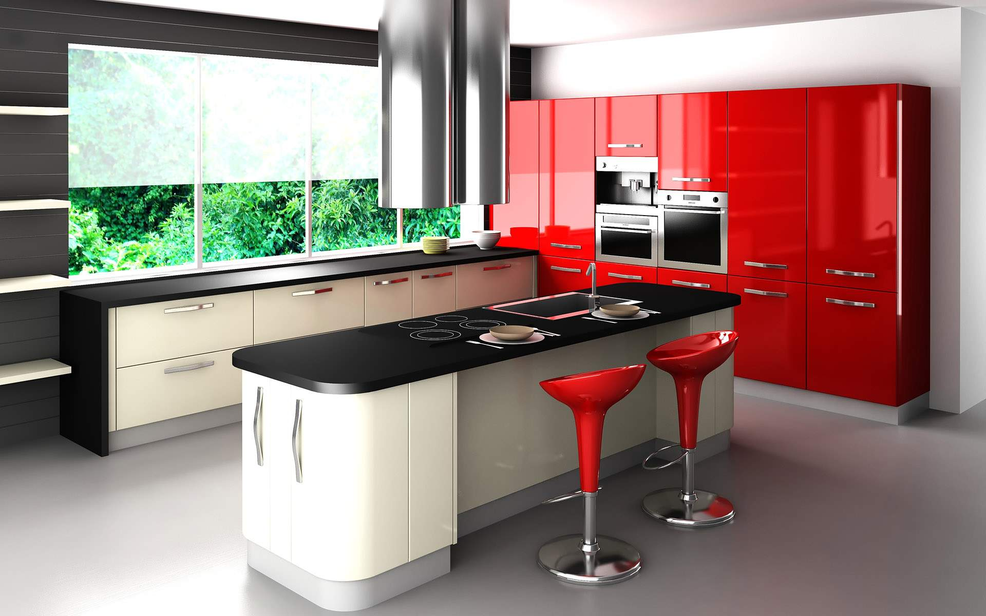 Divine Room with Black also White plus Red Kitchen Cabinet for Spacious Room