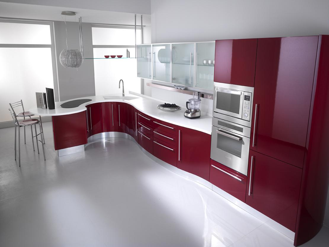 Excellent Idea of Red Kitchen Cabinets plus Stainless Steel Microwave plus Square Sink
