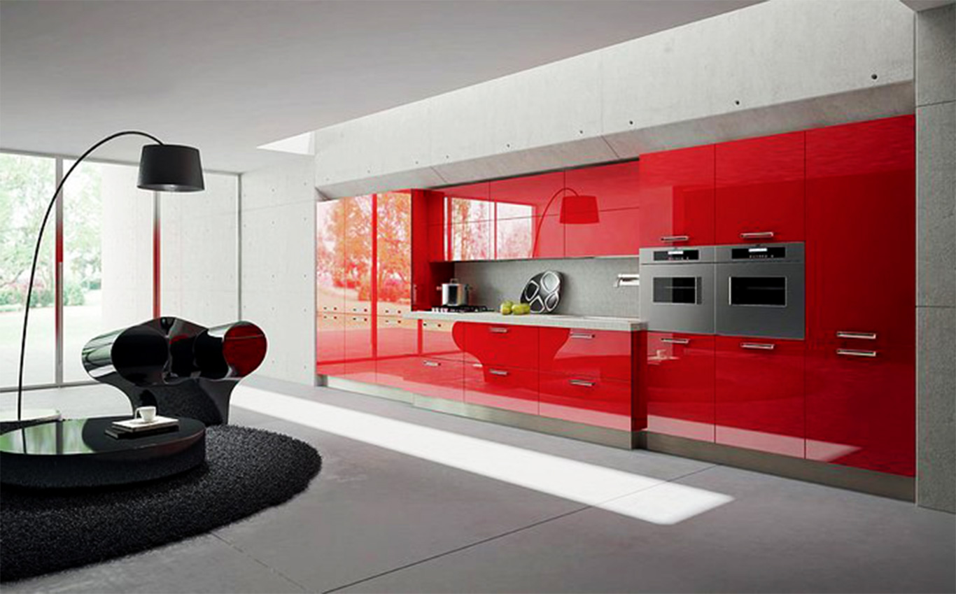 Fascinating Interior Room Design with Lush Table also Sightly Red Kitchen cabinets Design