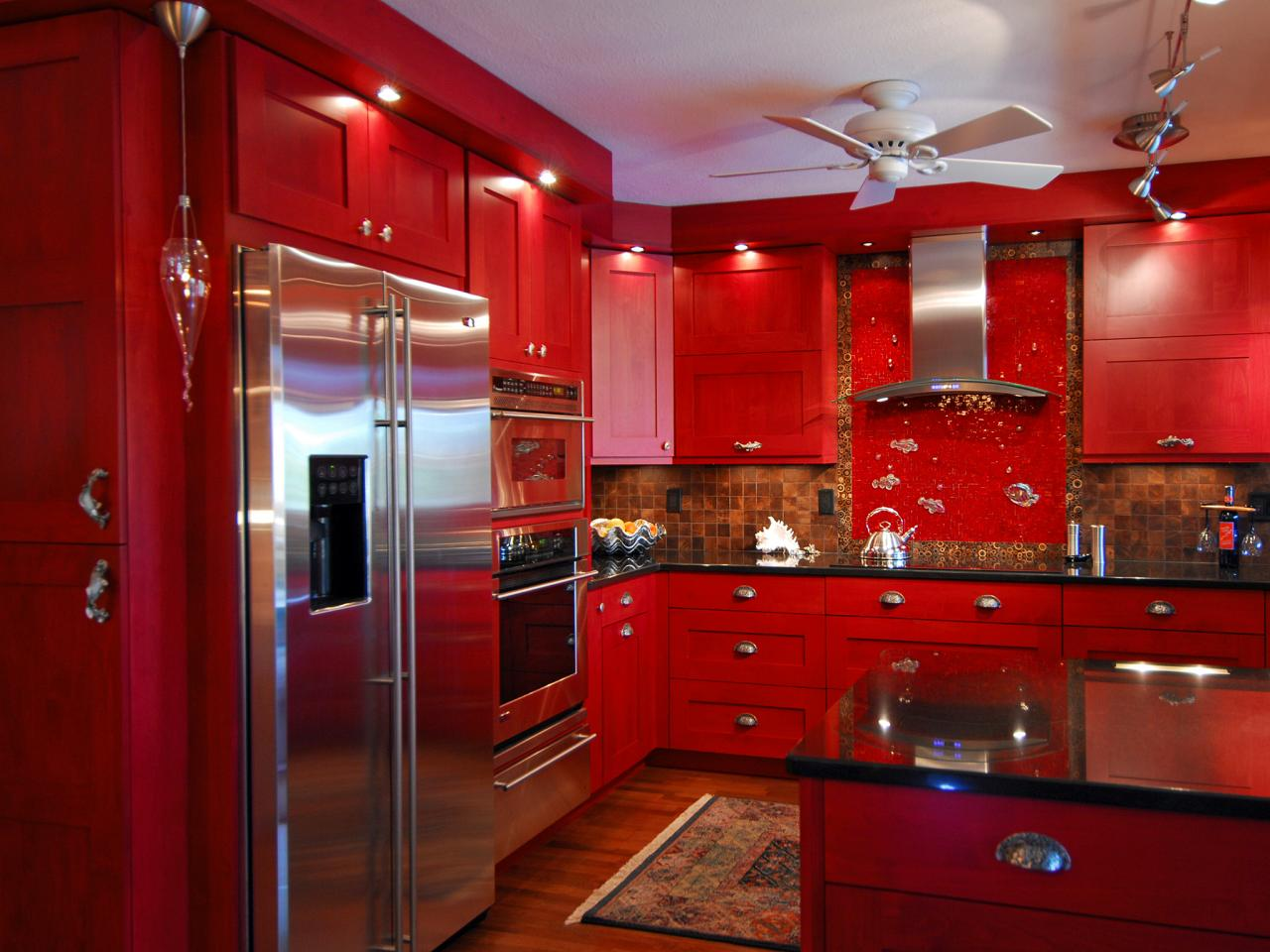 Stunning Room Decoration Idea with Ceiling Van also Good Red Kitchen Cabinets Design