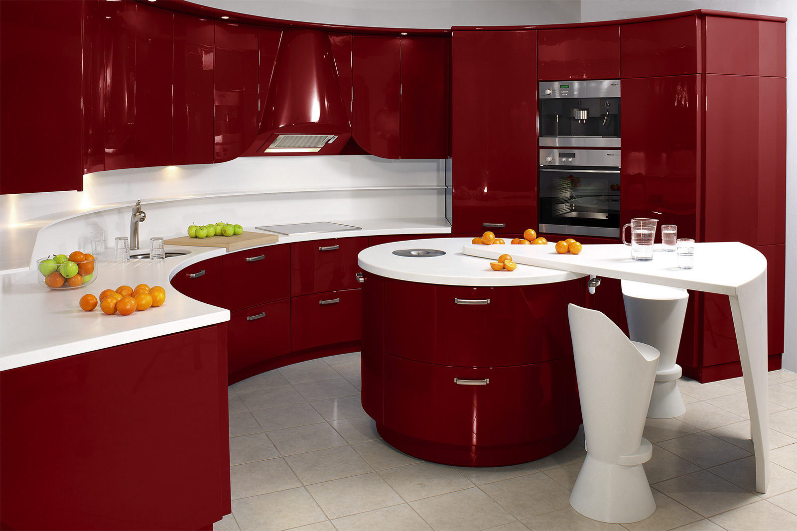 Teasing Idea of Red Kitchen Cabinets with Charming Countertop in Curve Shape Design