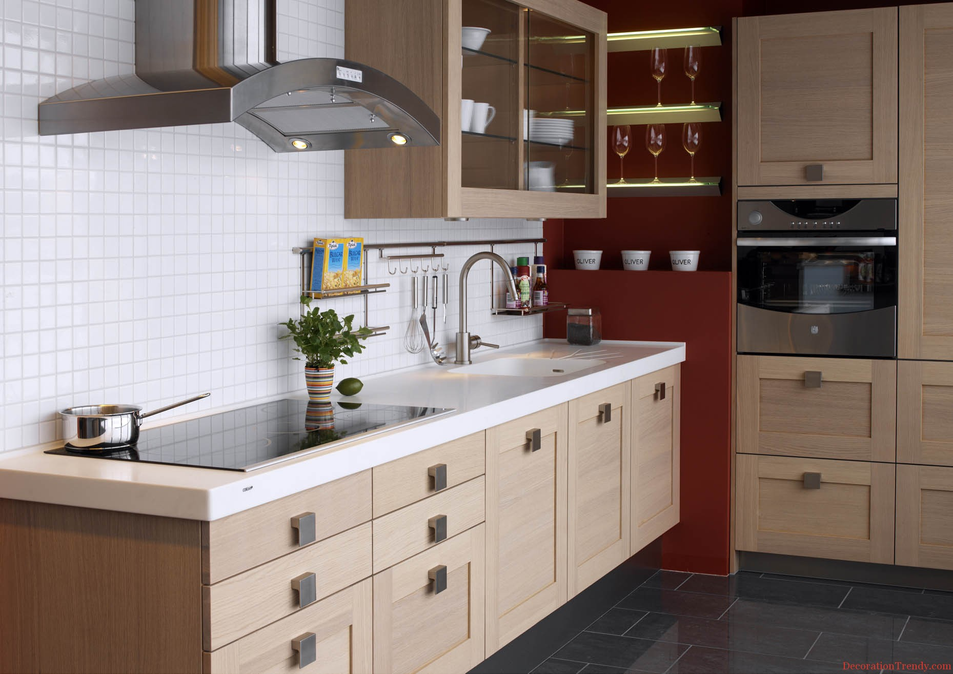 Modern Storage Ideas For Small Kitchens With Light Brown Color And White Backsplash