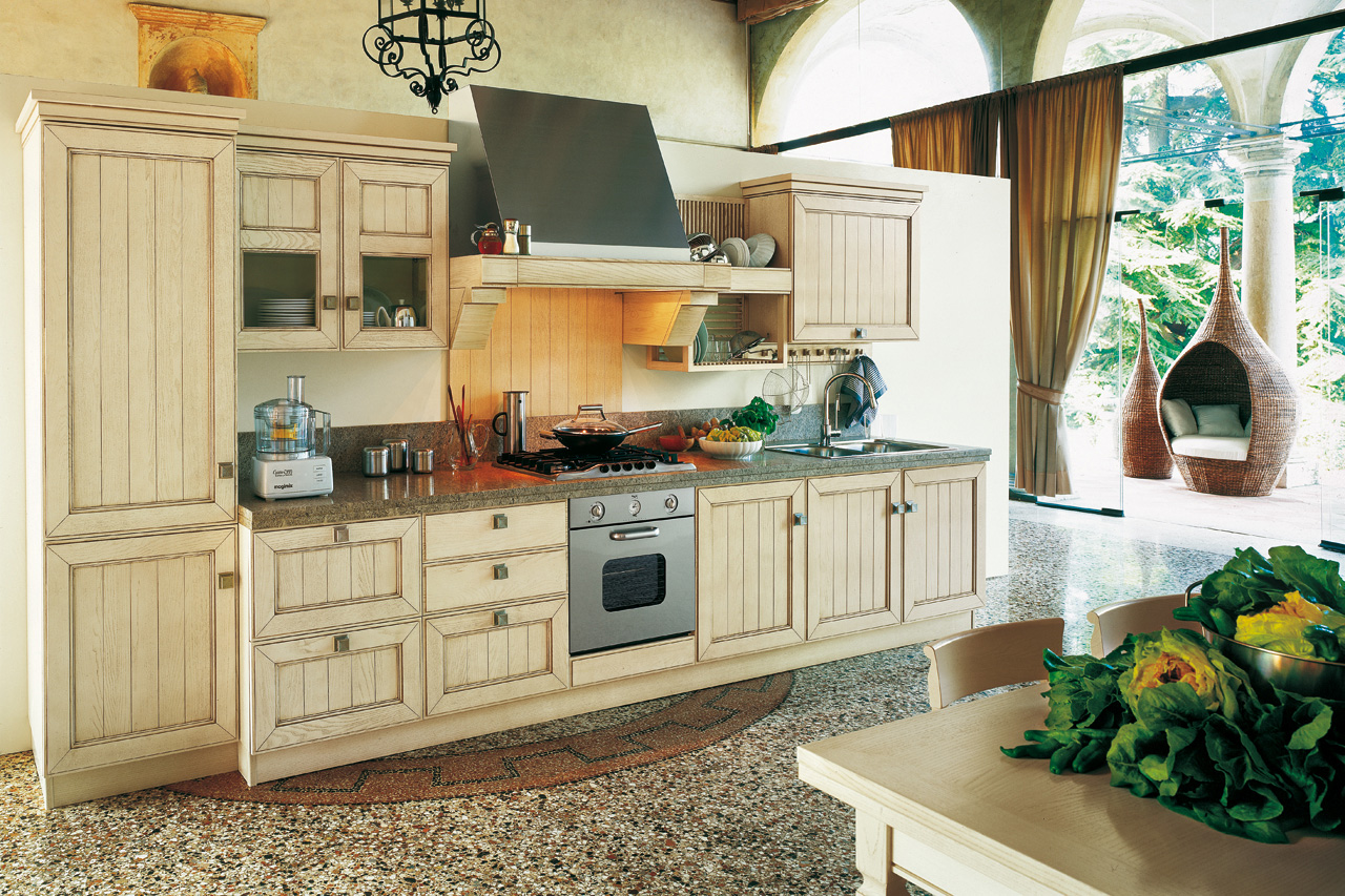 Retro Style Kitchen Designs Completed with Oven Range and Sink