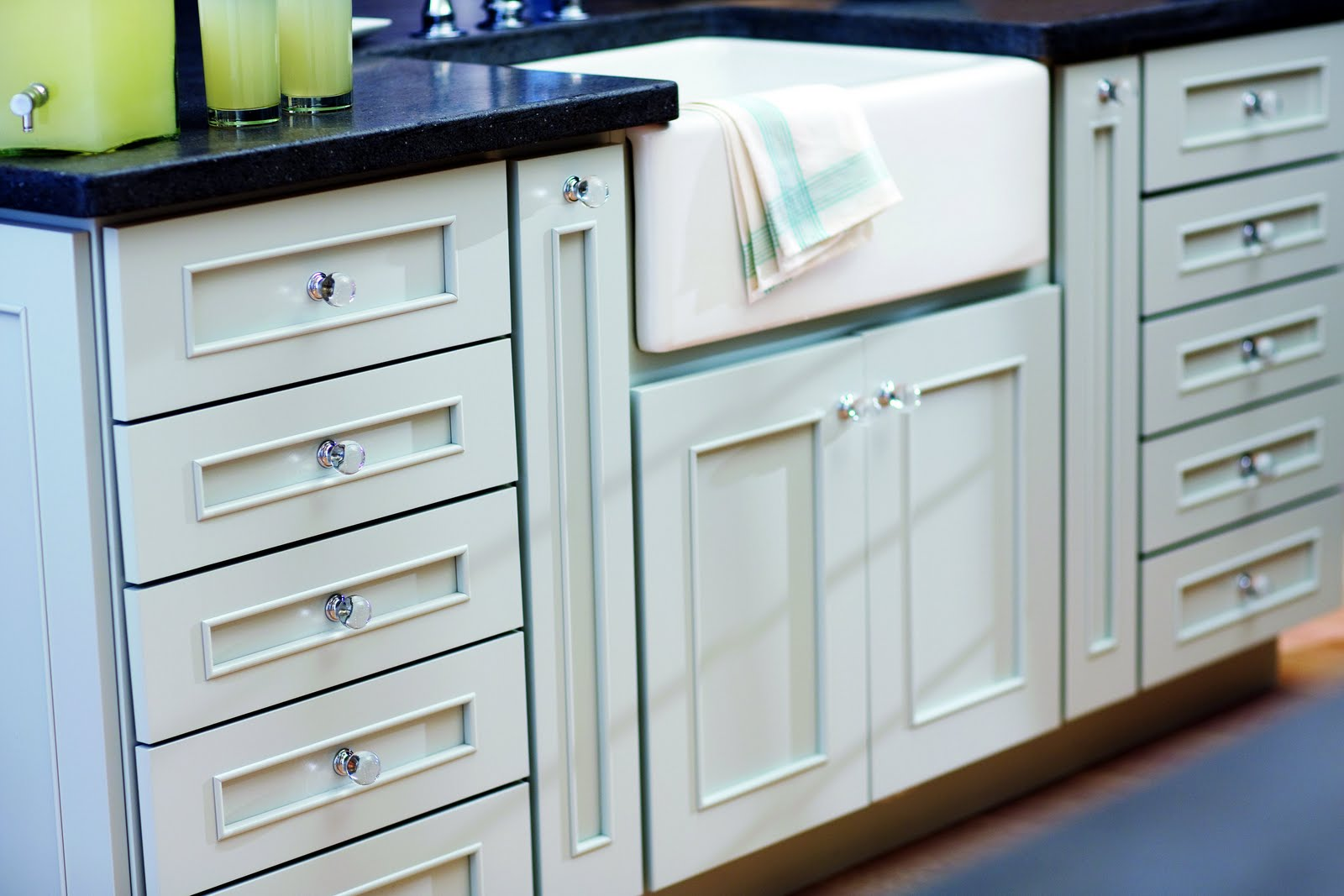 Small Glass Kitchen Cabinet Knobs on White Cabinets inside Fascinating Kitchen with Dark Granite Countertop